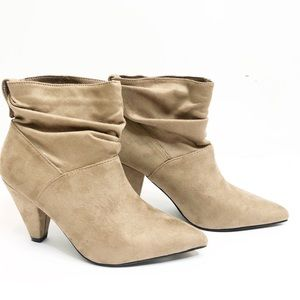 Marlow faux suede heel bootie pointed toe